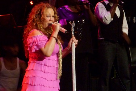Mariah Carey onstage in Singapore