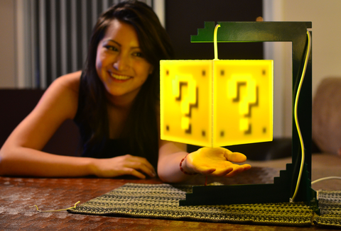 mario brothers question block lamp