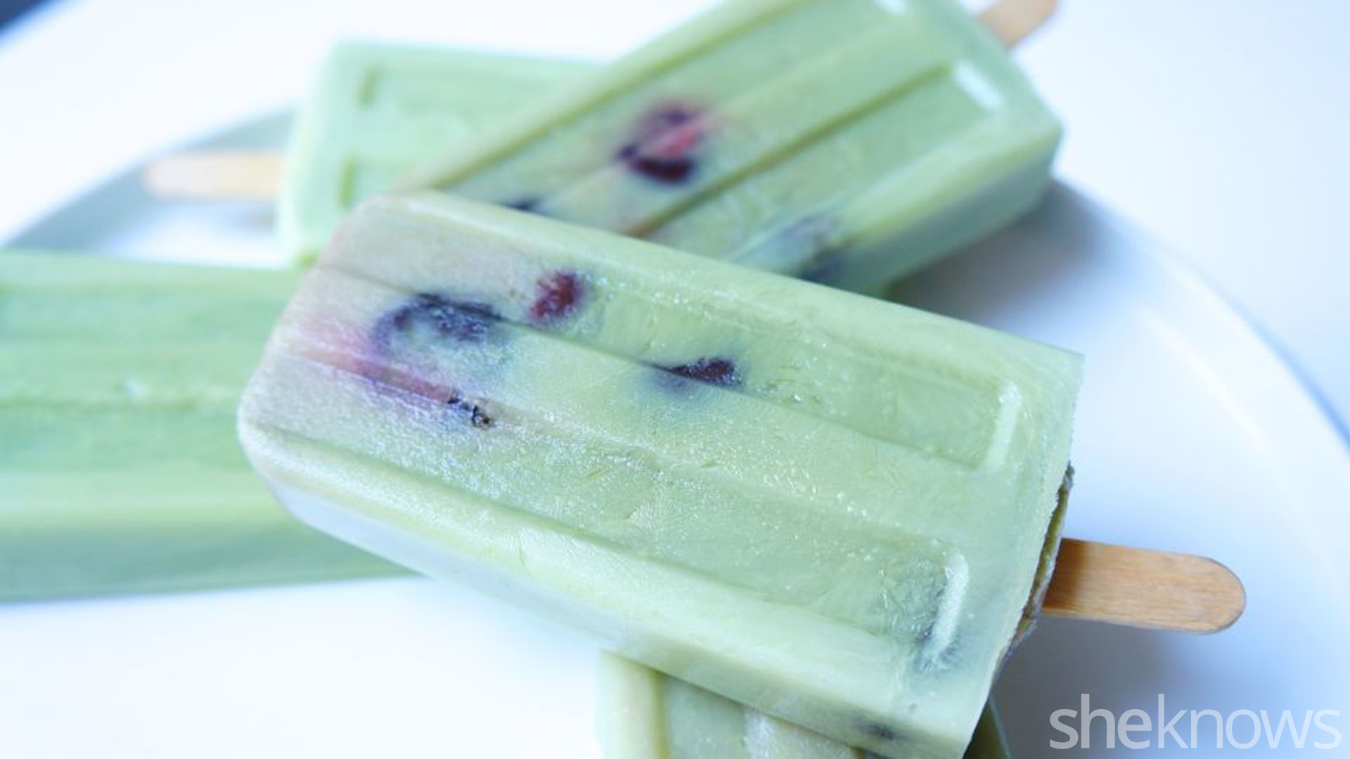 Matcha green tea and ginger pops with cherries