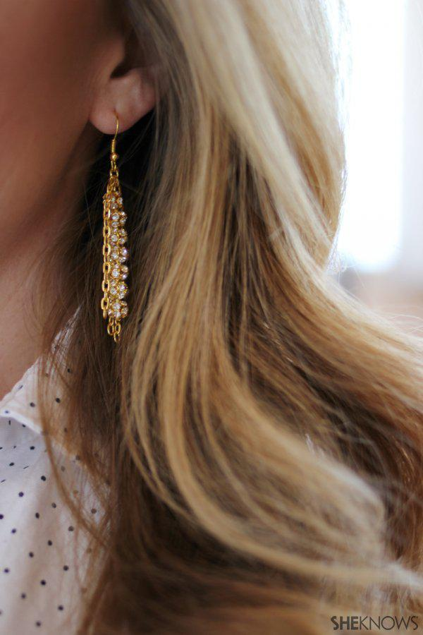 DIY gold and rhinestone statement earrings