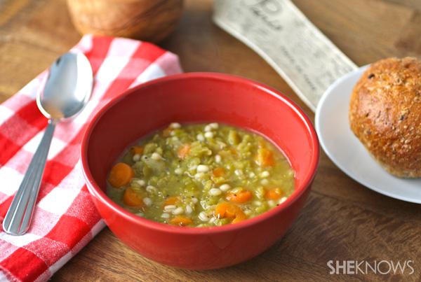 Green pea and barley soup