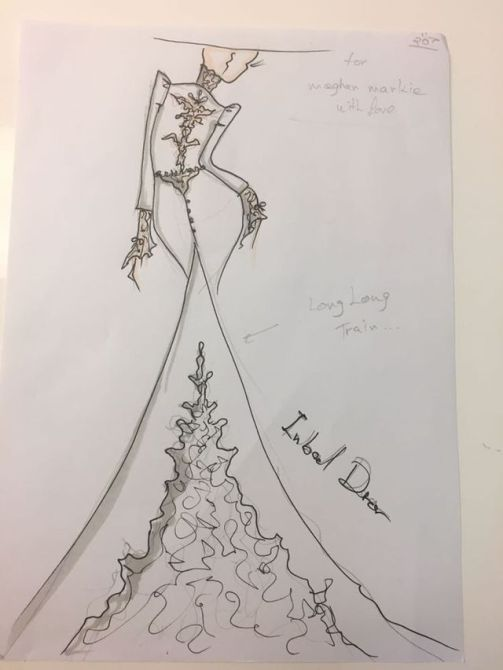 Meghan Markle's Wedding Dress Sketches| Sketch 1 the back