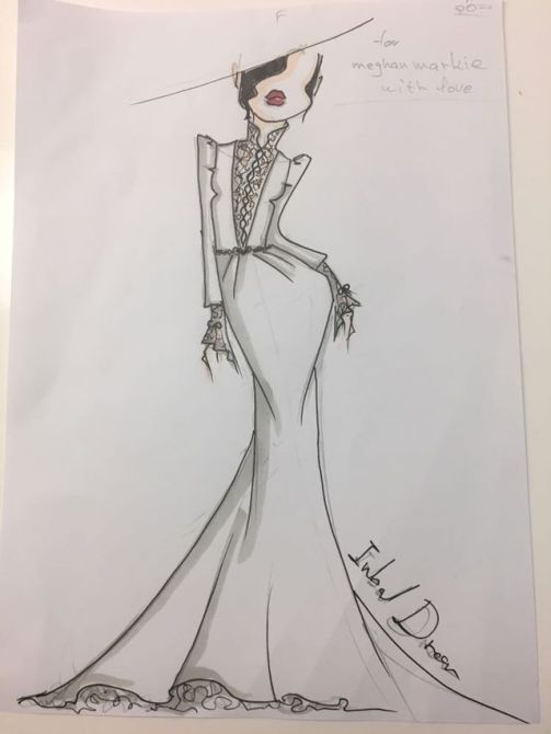 Meghan Markle's Wedding Dress Sketches| Sketch 2 the front