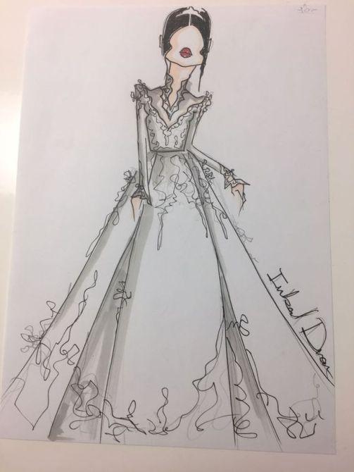 Meghan Markle's Wedding Dress Sketches| Sketch 3 alt design