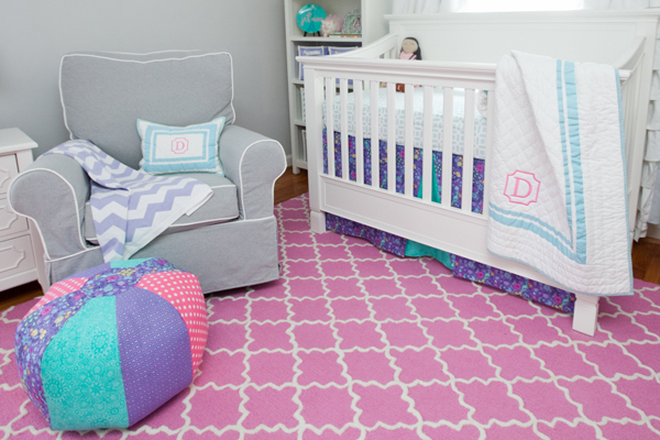 Nursery projects: DIY crib skirt and pouf
