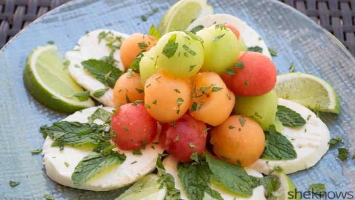 Triple melon mozzarella salad with mint