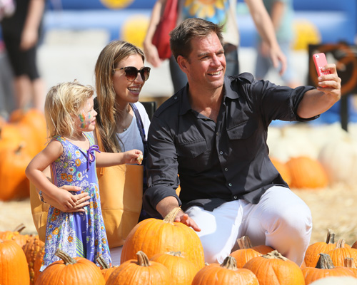 Michael Wetherly and family at pumpkin patch