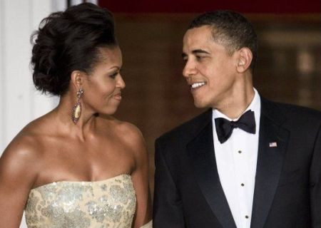 Michelle Obama and Barack Obama at their first state dinner