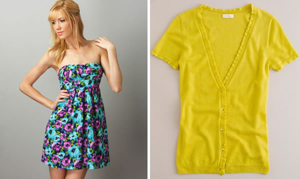 flowered dress and yellow sweater