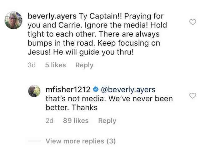 Mike Fisher responds to Instagram comment about trouble in his marriage