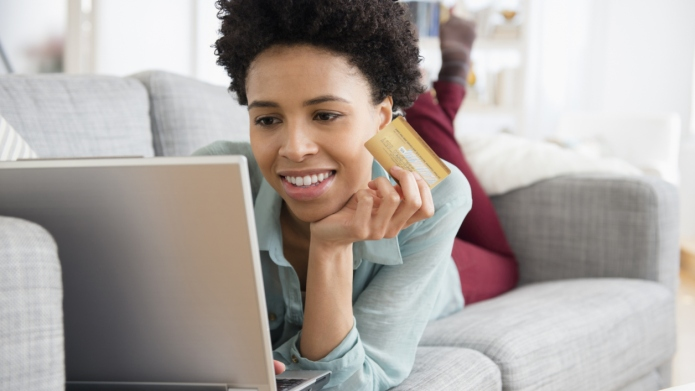 Black woman shopping online
