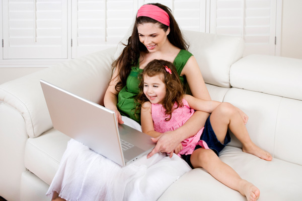 Mom and preschooler on computer
