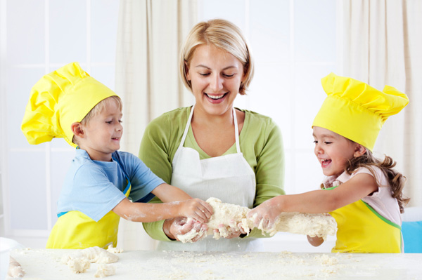 Mom cooking with kids