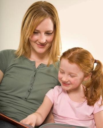 Mom homeschooling her daughter