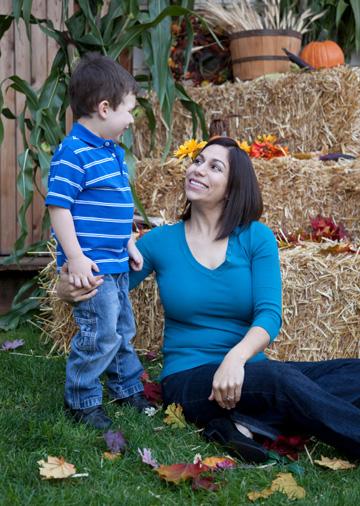 Mom and preschooler at Thanksgiving