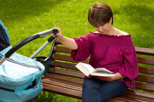 Mom reading book