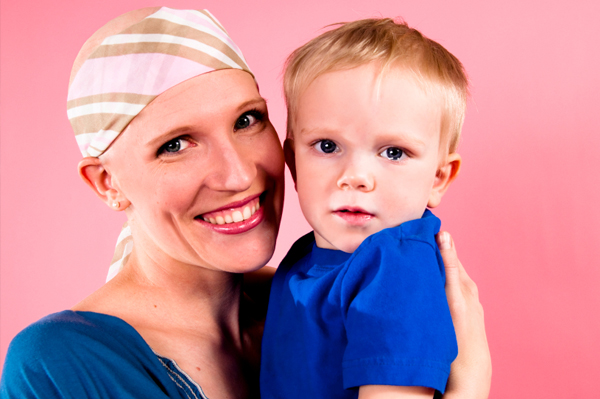 Mom with cancer and son
