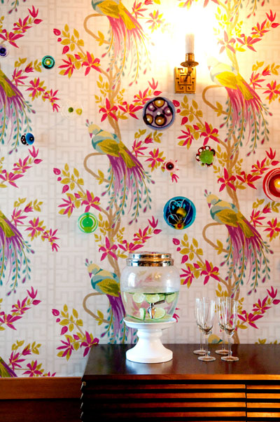 Floral Wallpaper and Metallic Sconce