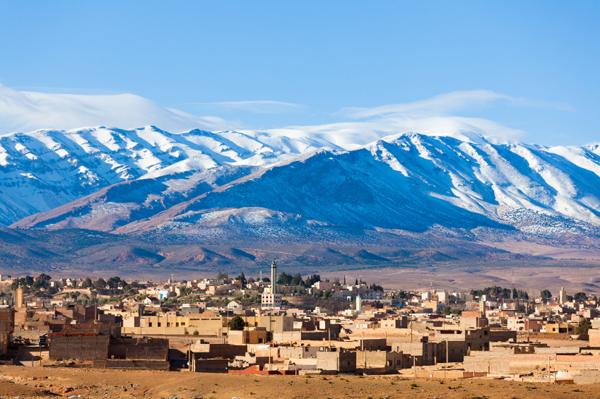 Morocco -- snow covered mountains