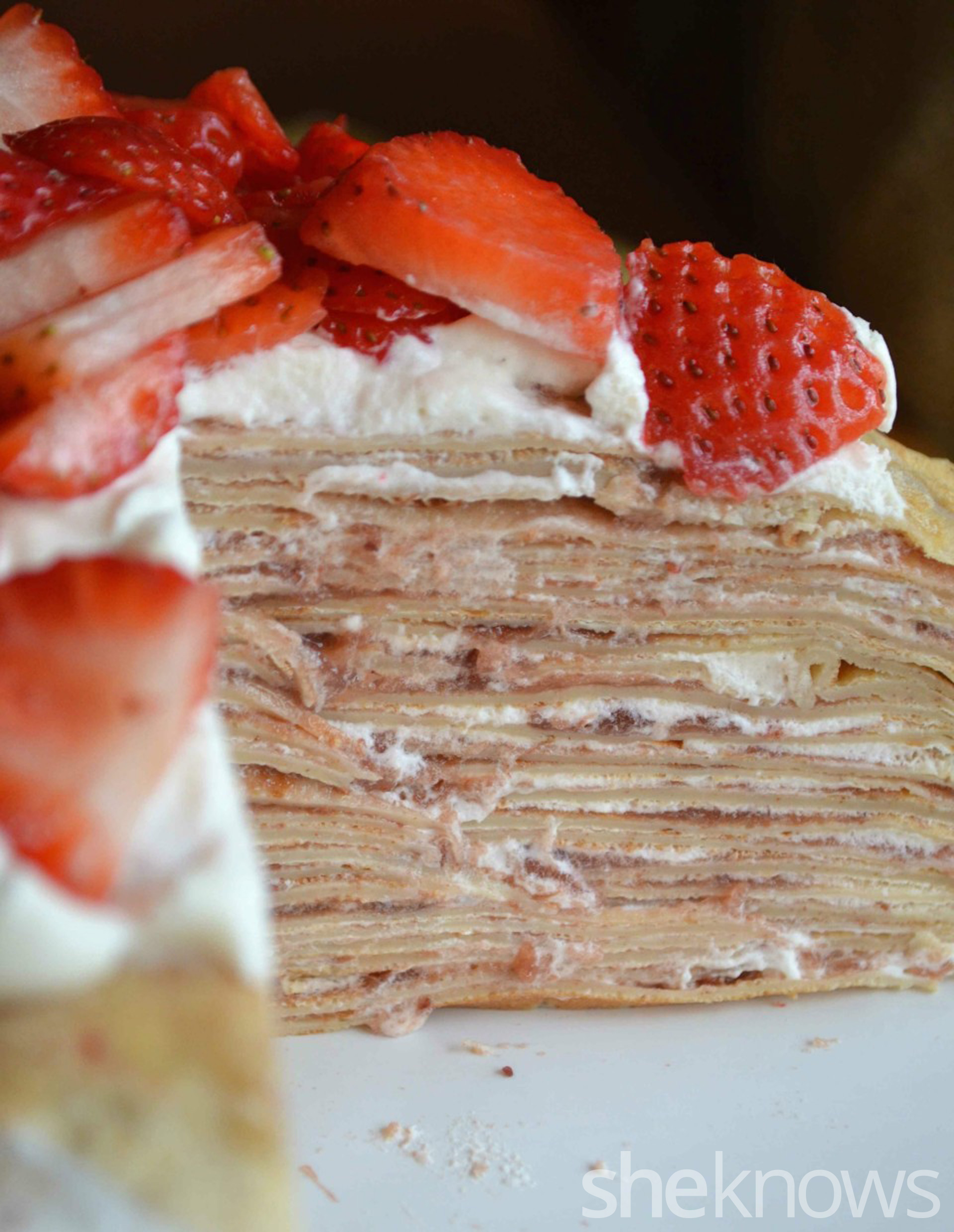 Brown sugar crepe cake with strawberries and cream