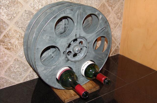 movie film reel wine rack