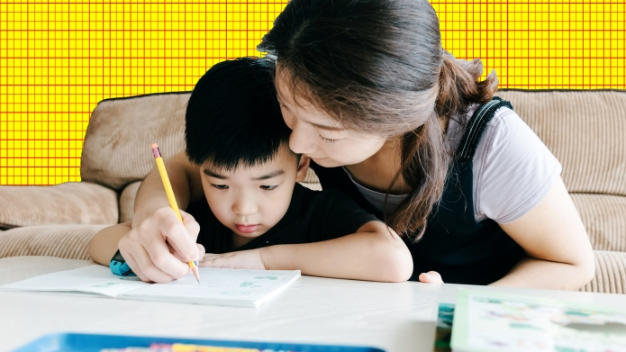 Mom Helps Son with Homework