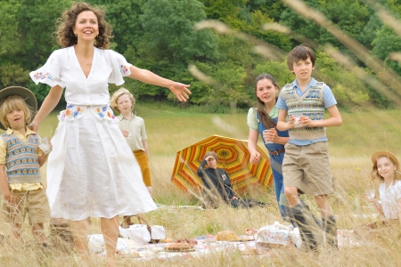 Nanny McPhee Returns star Maggie Gyllenhaal and her onscreen family