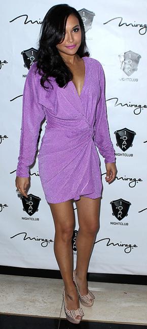 Naya Rivera in purple wrap dress