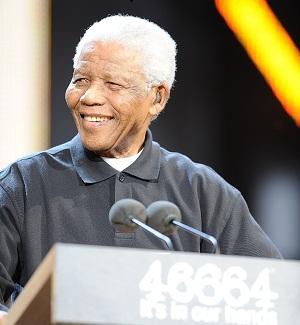 Nelson Mandela at his birthday celebration