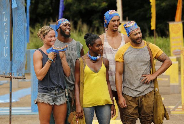 Newly formed blue tribe Survivor: Heroes Vs. Healers Vs. Hustlers season 35 CBS