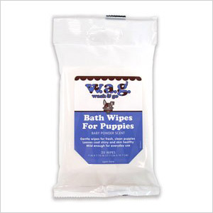 WAG bath wipes for puppies