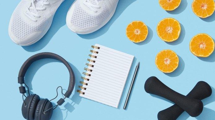 White sneakers, orange slices, headphones, free