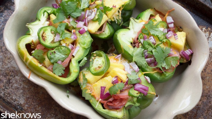 Hawaiian pizza-stuffed bell peppers are a
