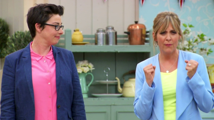 Sue Perkins and Mel Giedroyc presenting