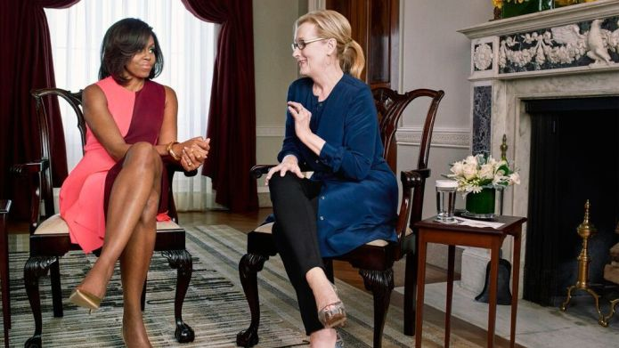 First lady Michelle Obama interviews actress