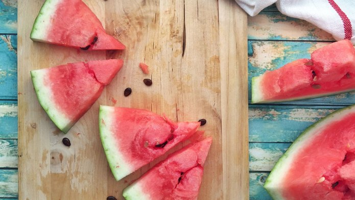 Slices of watermelon on a chopping