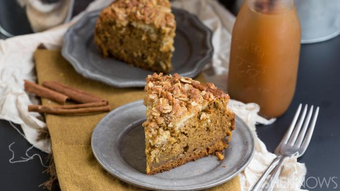 Decadent cheesecake swirl pumpkin spice cake