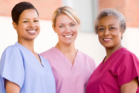 Nurses standing outside hosptial
