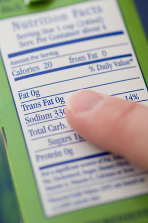 Child's Finger on Nutrional Label