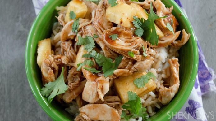 3-Ingredient slow cooker pineapple teriyaki chicken