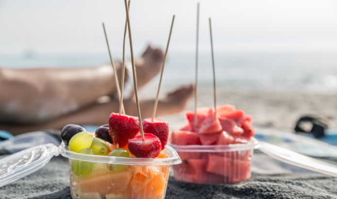 Fresh fruit salad at the beach