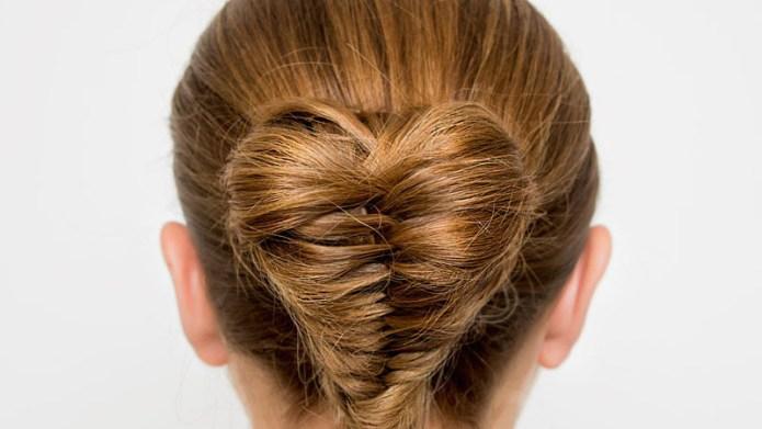 Hair stylist creates heart-shaped bun that's