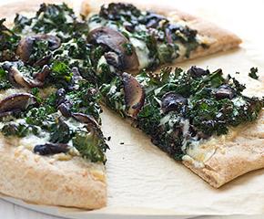 portabella and kale pizza