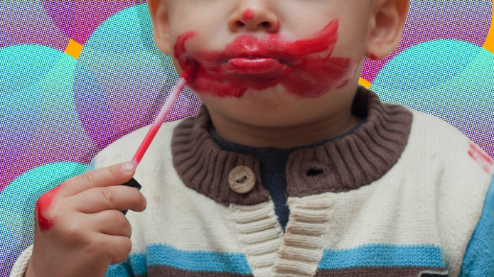 Child Playing With Lipstick