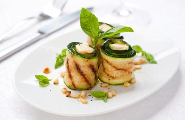 Grilled zucchini roll-ups with fresh herbs