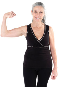 Older woman flexing her bicep