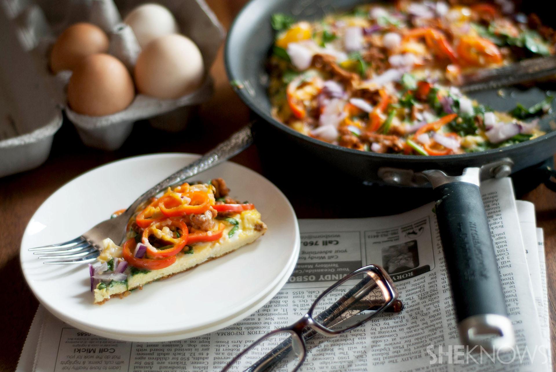 Easy skillet omelet breakfast pizza recipe