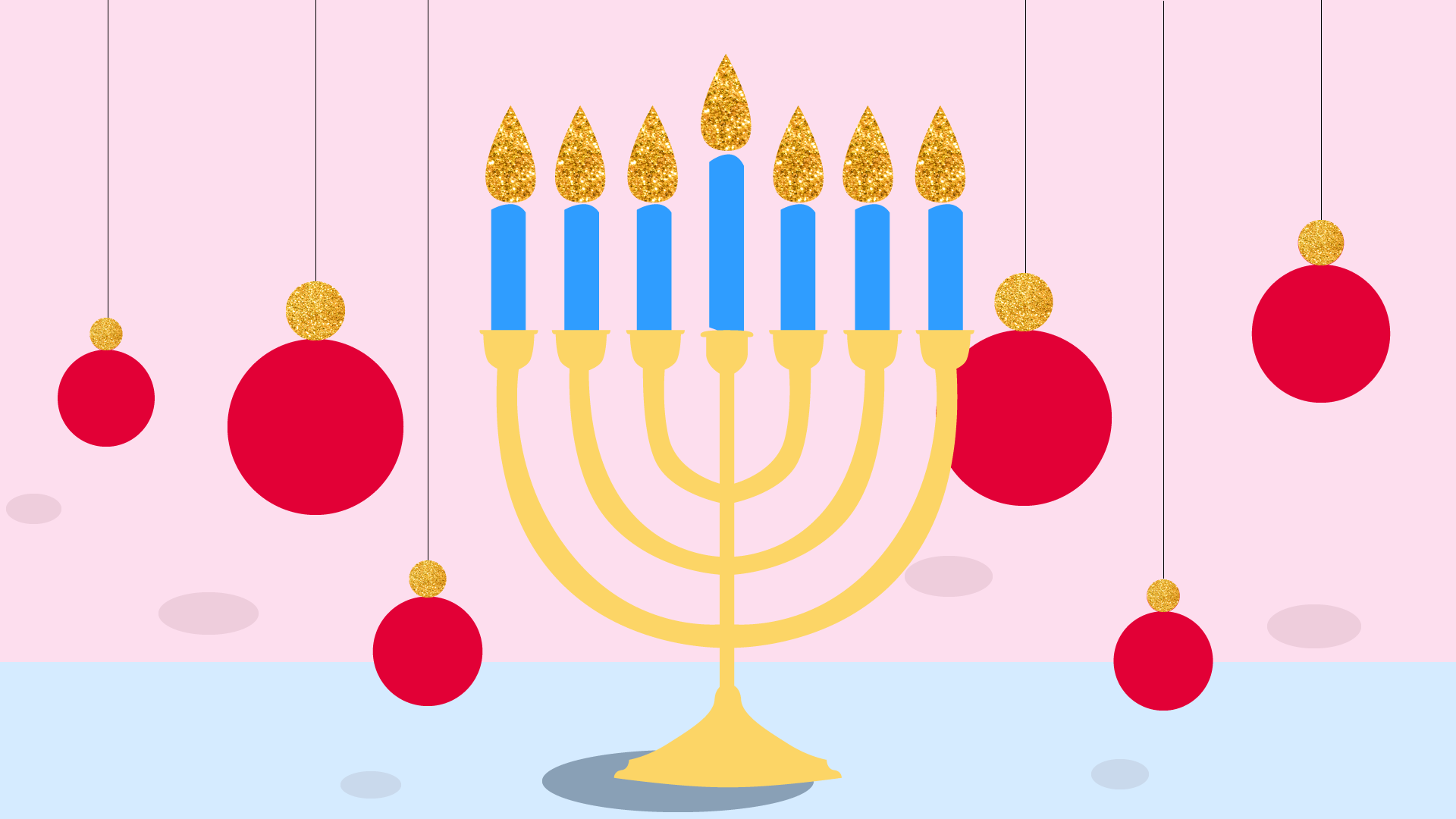 Menorah and christmas ornaments