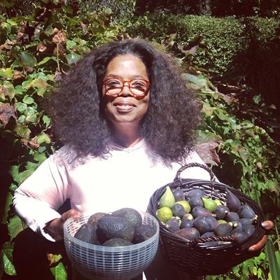 Oprah gardening