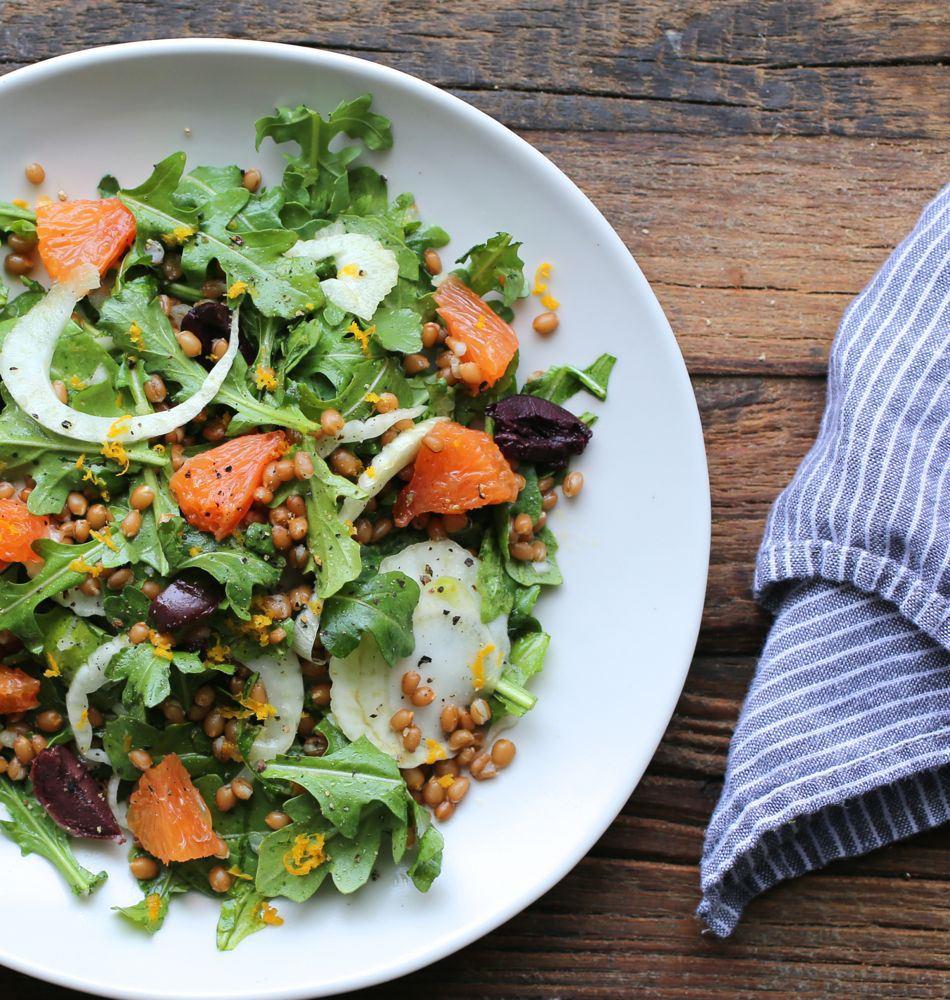orange arugula fennel wheat berry salad